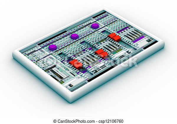Stock Illustration of sound mixer for audio recording ...