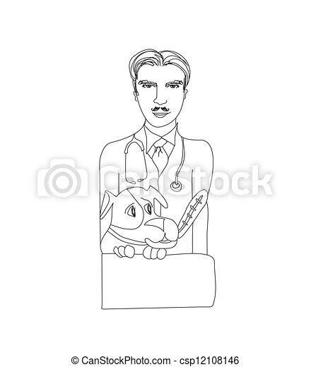 Dog and veterinarian - vector illustration.  - csp12108146