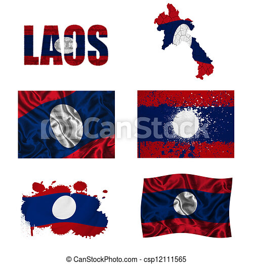 Laos flag collage - csp12111565