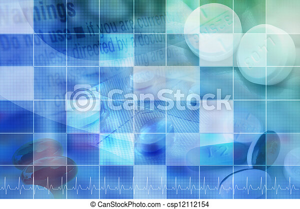 Blue Pharmaceutical Pill Background With Grid - csp12112154