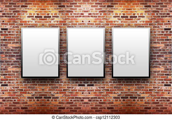 Brick Display Art Gallery with Frames - csp12112303