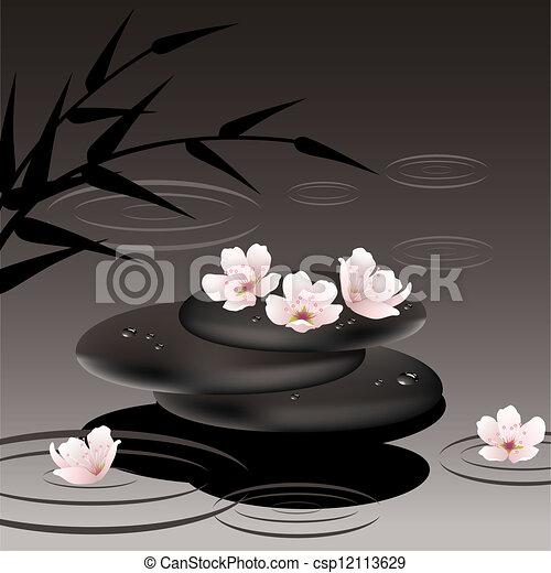 vector zen stones and cherry flowers - csp12113629