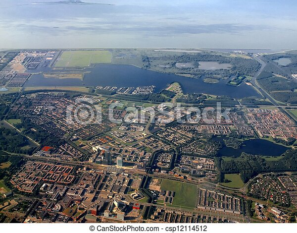 Aerial view of Almere city. Holland. Europe - csp12114512