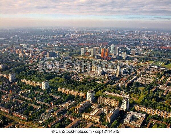 Aerial view of Buitenveldert West Amsterdam Holland - csp12114545