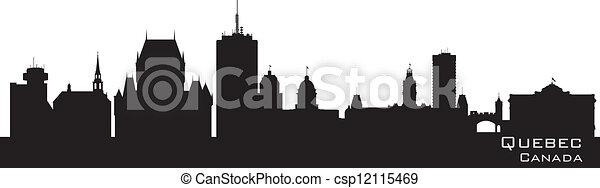 Quebec, Canada skyline. Detailed silhouette - csp12115469