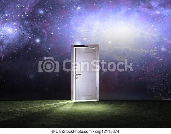 Doorway before cosmic sky - csp12115874