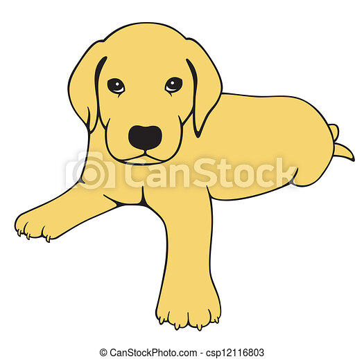 Vector Clipart Of Labrador Puppy Drawing A Cute