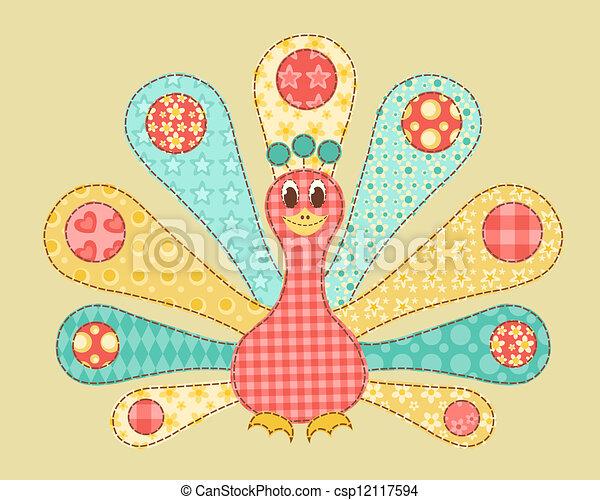 Peacock patchwork. - csp12117594