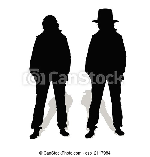 people couple vector silhouette illustration - csp12117984