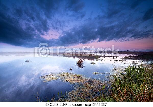 swamp at sunrise - csp12118837
