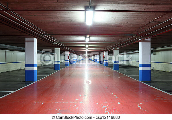 Empty underground garage in a residential building - csp12119880