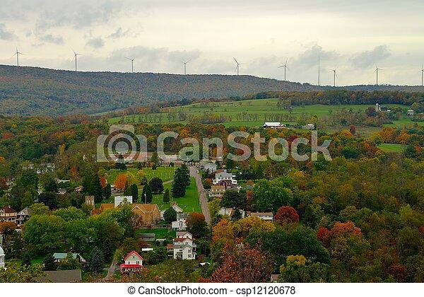 Fall color landscape in rural America - csp12120678