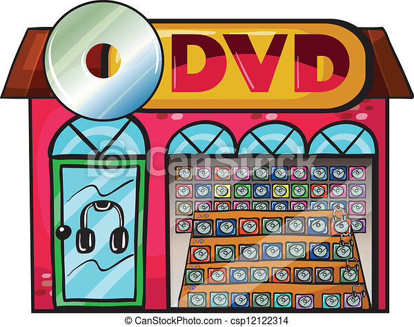 Vector Clip Art of A dvd store - Illustration of a dvd ...