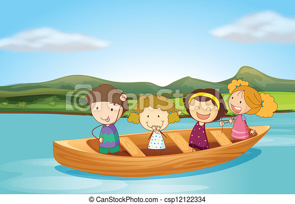 Vectors of Kids in a boat - Illustration of kids in a boat on a river ...