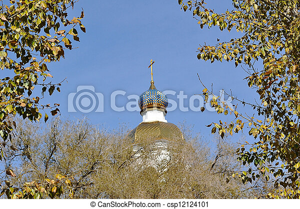 The dome of the Orthodox Church on the border between Europe and Asia - csp12124101