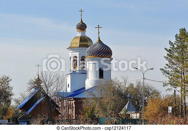 The dome of the Orthodox Church on the border between Europe and Asia - csp12124117