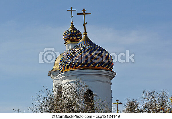 The dome of the Orthodox Church on the border between Europe and Asia - csp12124149