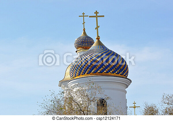 The dome of the Orthodox Church on the border between Europe and Asia - csp12124171