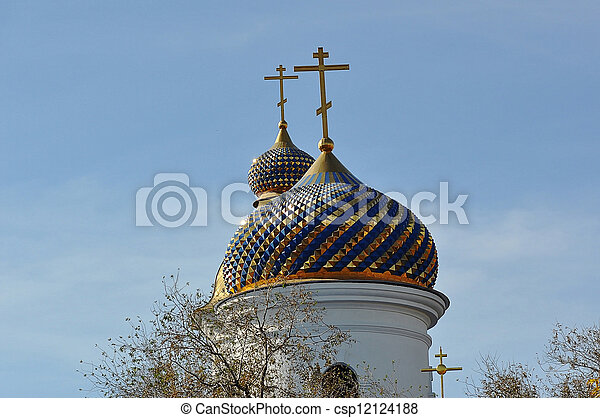 The dome of the Orthodox Church on the border between Europe and Asia - csp12124188