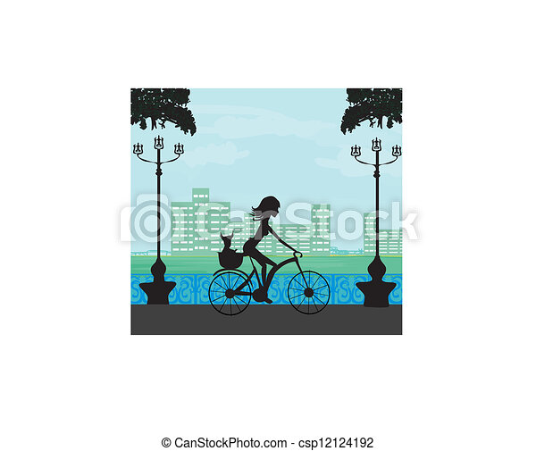 Happy Driving Bike with Cute Girl - csp12124192