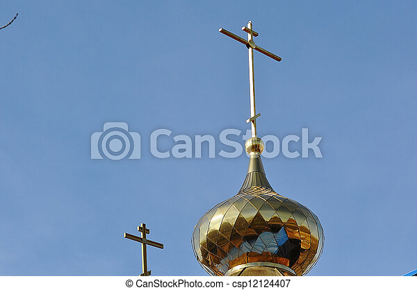 The dome of the Orthodox Church on the border between Europe and Asia - csp12124407
