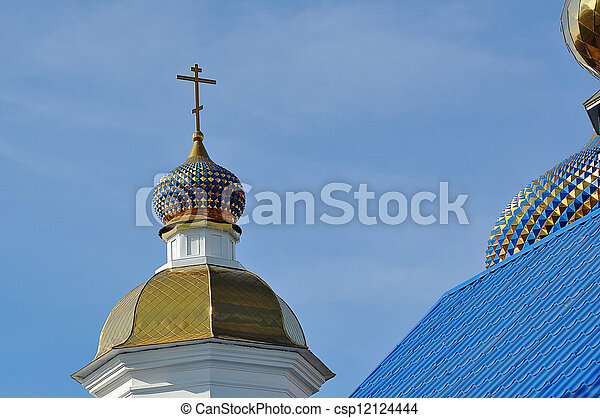 The dome of the Orthodox Church on the border between Europe and Asia - csp12124444