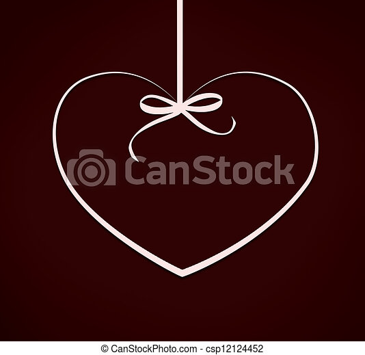 Valentine card with heart with ribbon bow on red background. Illustration - csp12124452