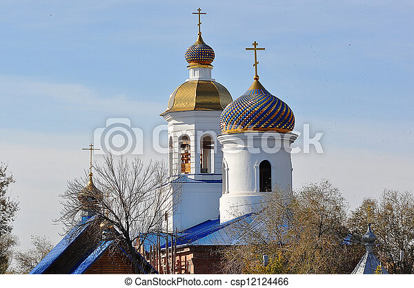 The dome of the Orthodox Church on the border between Europe and Asia - csp12124466