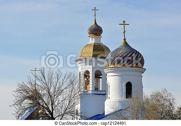 The dome of the Orthodox Church on the border between Europe and Asia - csp12124491