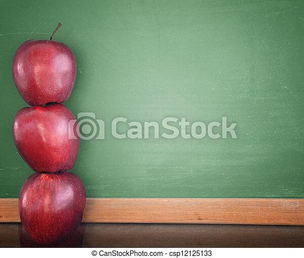 チョーク, 学校, 教育, 板, りんご - csp12125133