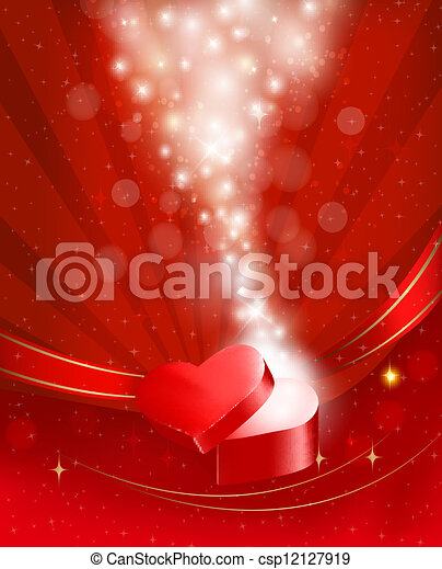 Valentine`s day background with open red gift box with bow and ribbons. Vector. - csp12127919