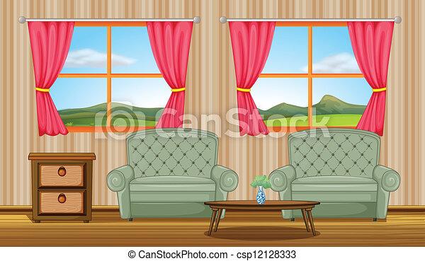 vecteurs de coussin chaises c244t233 table illustration