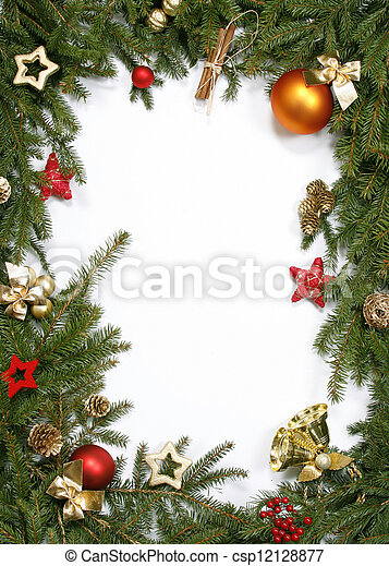 Decorative Christmas bordering the white background - csp12128877