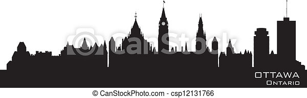 Ottawa, Canada skyline. Detailed silhouette - csp12131766