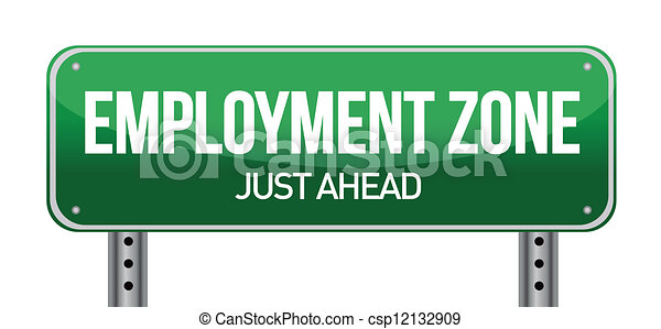 Vector Clipart of Employment Zone Green Road Sign In illustration ...