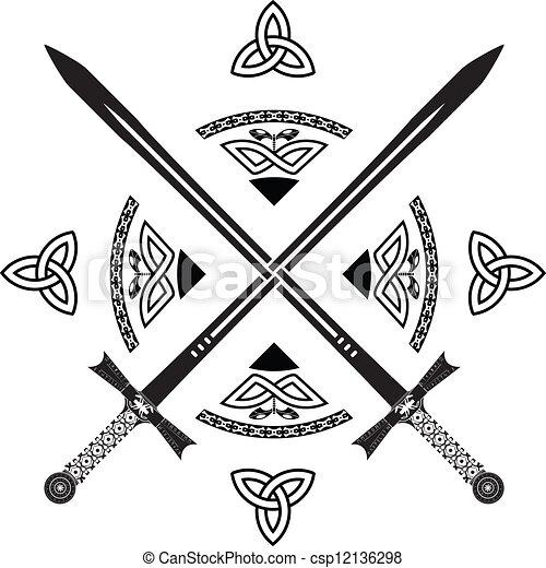 Celtic Sword Drawing Vector Celtic Swords