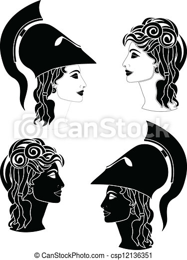 Clipart Vector Of Greek Woman Profiles Csp12136351