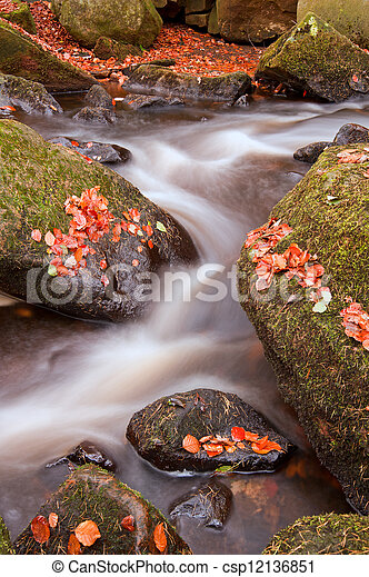 Beautiful waterfall flowing through Autumn Fall vibrant landscap - csp12136851