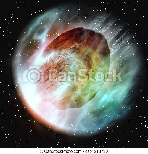 Asteroid Entering Earth Atmosphere - csp1213730