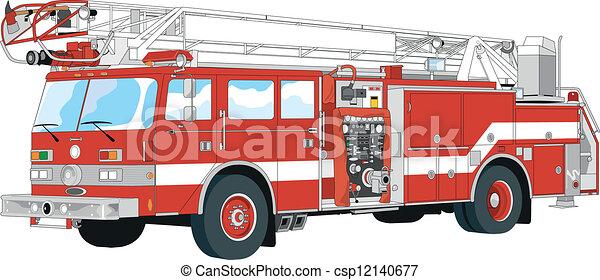 Illustrations vectoris es de pompier camion csp12140677 - Comment dessiner un camion de pompier ...