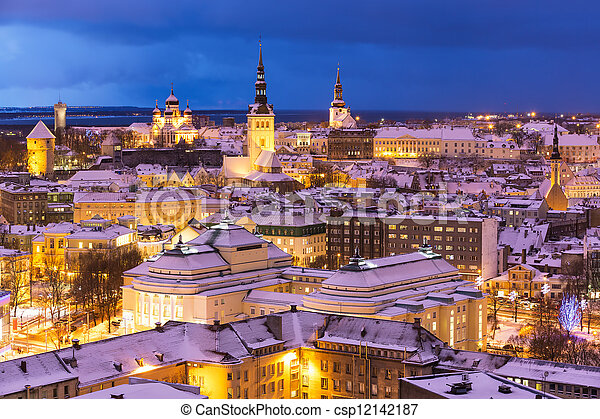 Winter night aerial scenery of Tallinn, Estonia - csp12142187