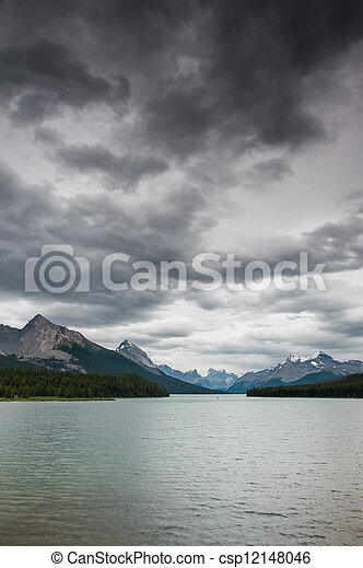 Dark clouds over Maligne Lake - csp12148046