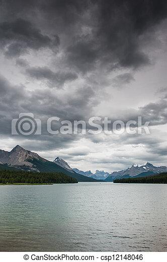 Dark clouds over Maligne Lake - csp12148046