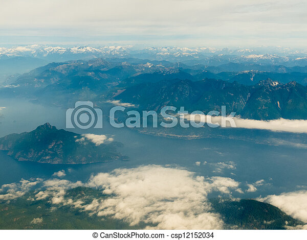Aerial view of coast mountain ranges in BC Canada - csp12152034