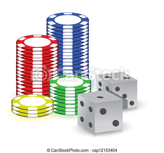 Poker gambling chips and set of dimes - csp12153404