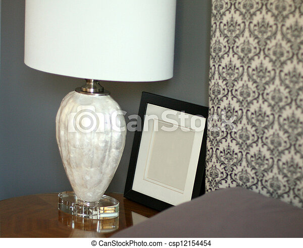 Lamp, frame and headboard