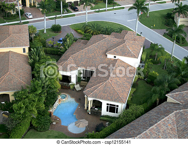 Florida Neighborhood Flyover Aerial - csp12155141