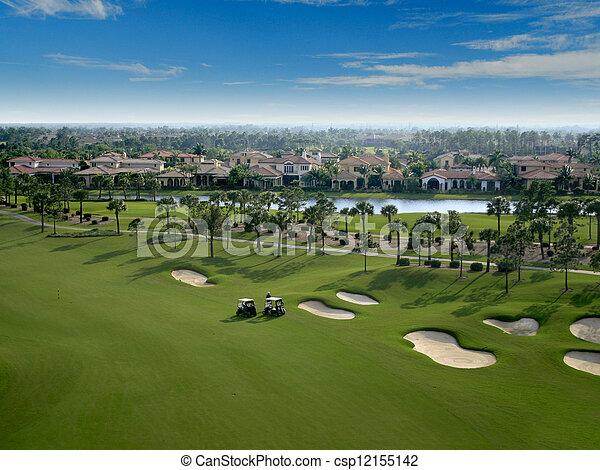 Florida Golf Course Flyover Aerial - csp12155142