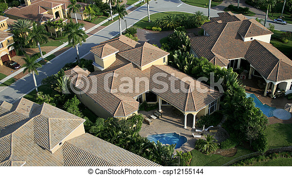 Florida Neighborhood Flyover Aerial - csp12155144