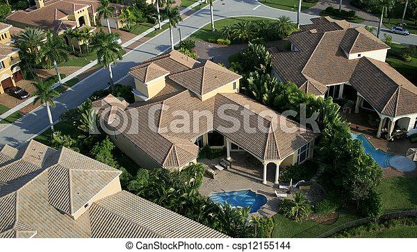 航空写真, 近所, フロリダ, 儀礼飛行 - csp12155144